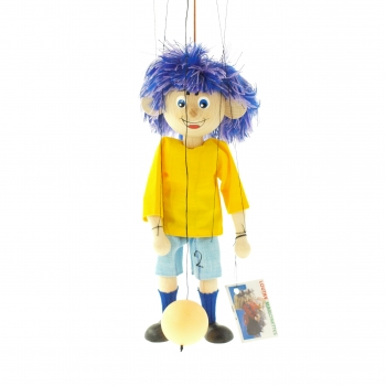 Loutka fotbalista žluto-modrý