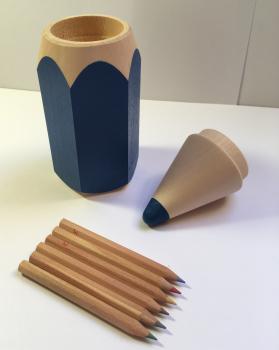 Tužka s pastelkami malá-modrá