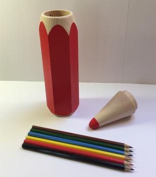 Tužka s pastelkami velká-červená
