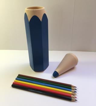 Tužka s pastelkami velká-modrá